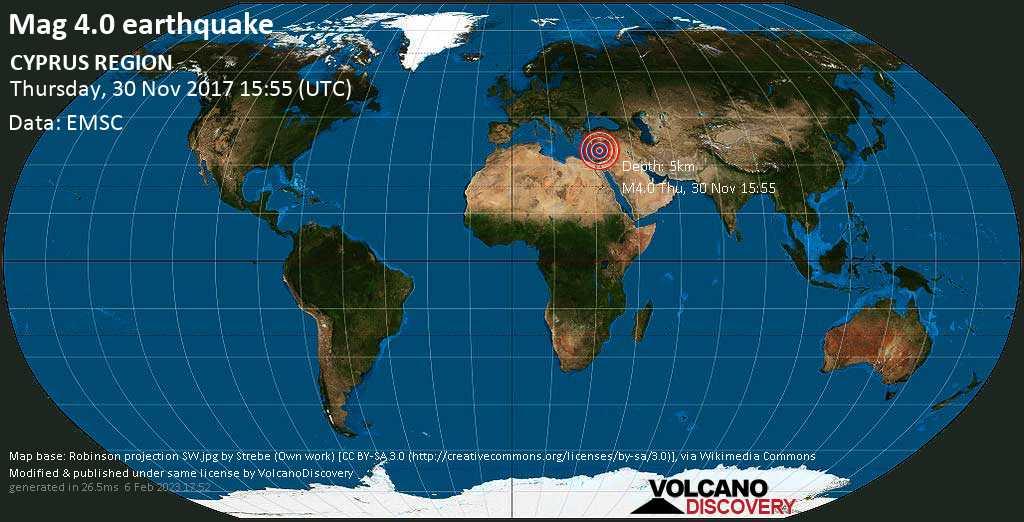 Light mag. 4.0 earthquake  - CYPRUS REGION on Thursday, 30 November 2017