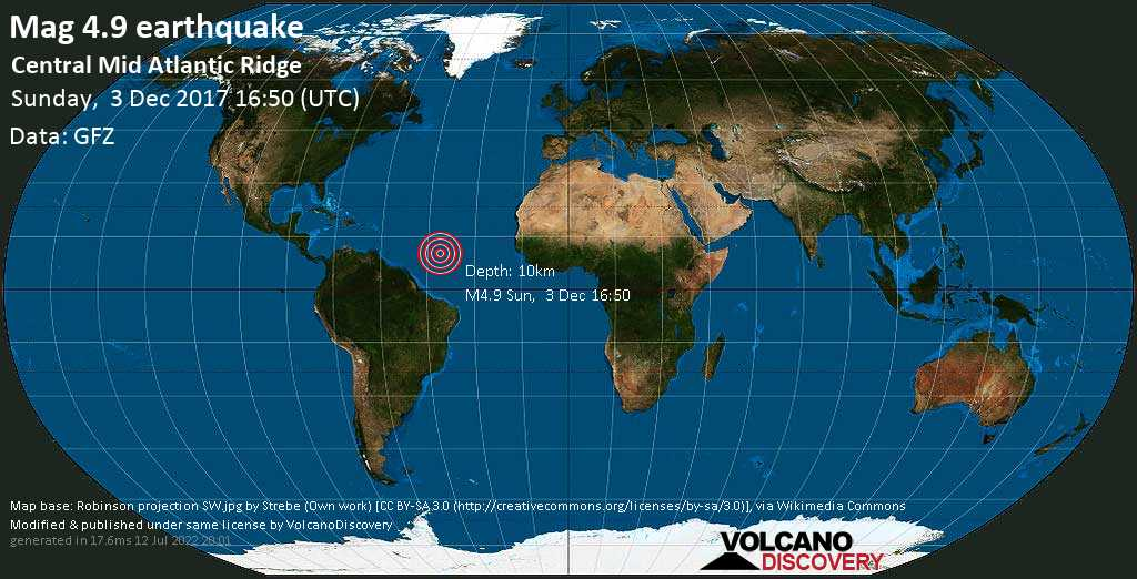 Light mag. 4.9 earthquake  - Central Mid Atlantic Ridge on Sunday, 3 December 2017