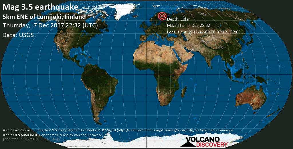 Minor mag. 3.5 earthquake  - 5km ENE of Lumijoki, Finland on Thursday, 7 December 2017