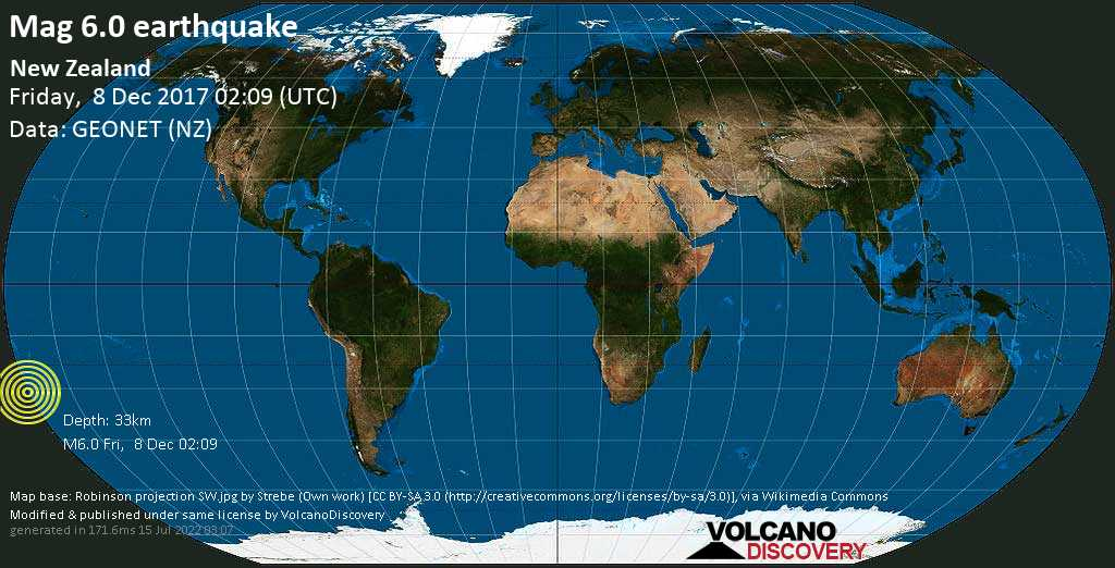 Strong mag. 6.0 earthquake  - New Zealand on Friday, 8 December 2017