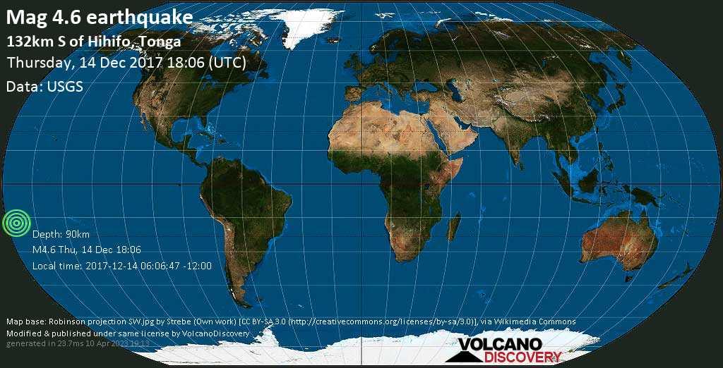Light mag. 4.6 earthquake  - 132km S of Hihifo, Tonga on Thursday, 14 December 2017