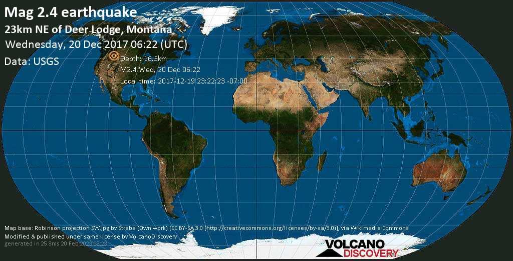 Minor mag. 2.4 earthquake  - 23km NE of Deer Lodge, Montana on Wednesday, 20 December 2017