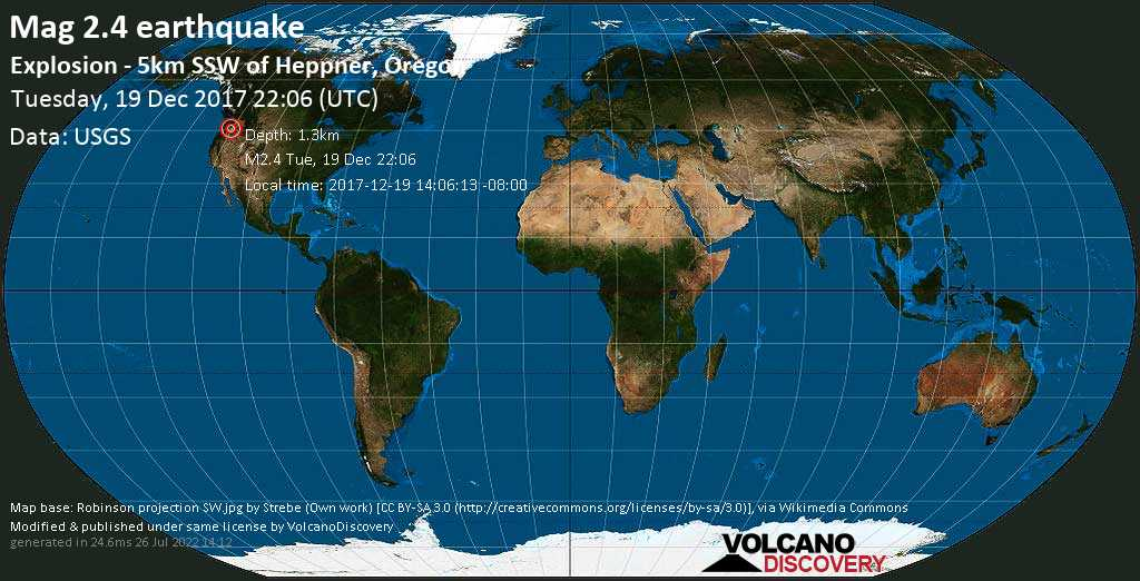 Minor mag. 2.4 earthquake  - Explosion - 5km SSW of Heppner, Oregon on Tuesday, 19 December 2017