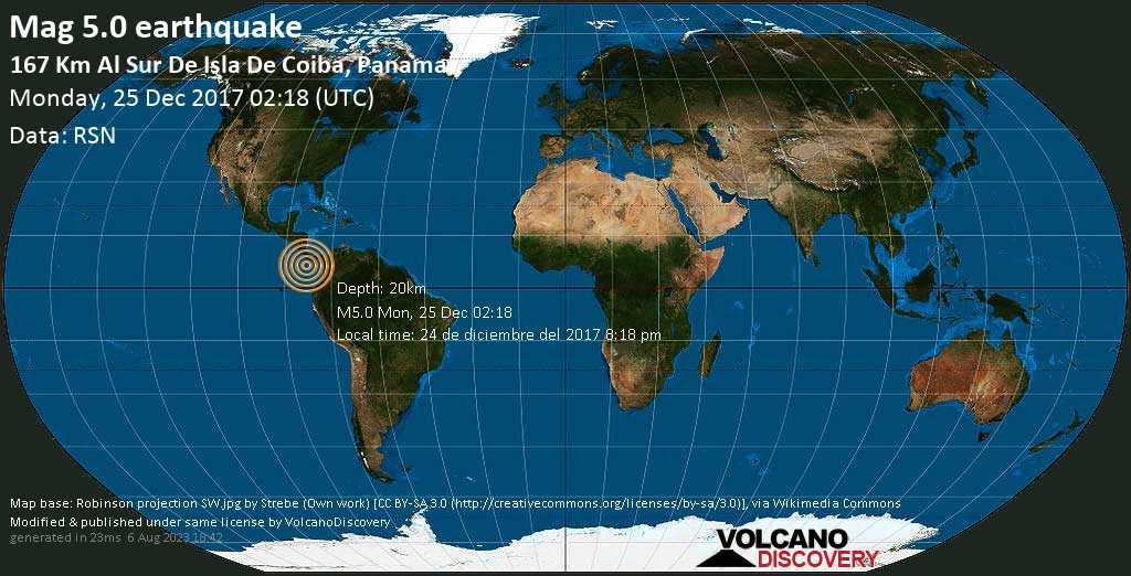 Moderate mag. 5.0 earthquake  - 167 km al Sur de Isla de Coiba, Panama. on Monday, 25 December 2017