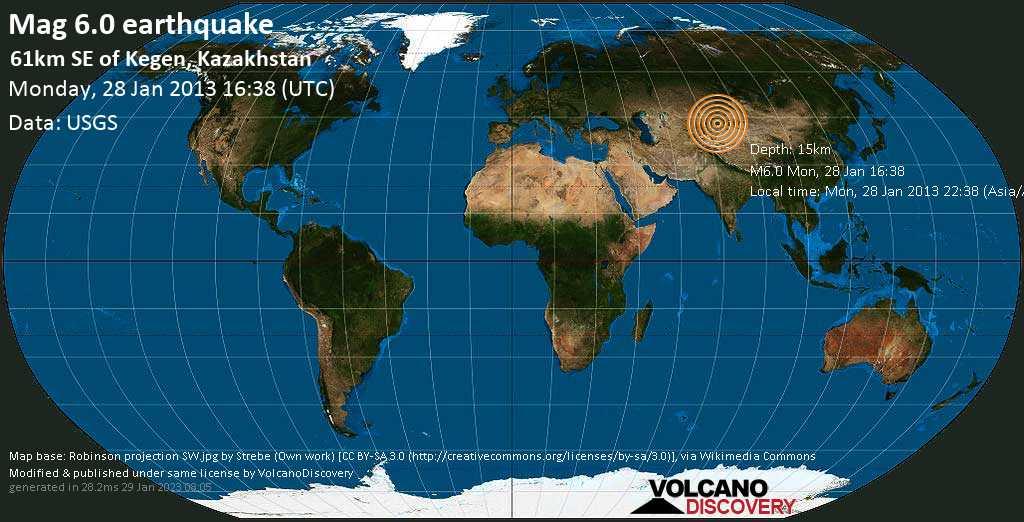 Strong mag. 6.0 earthquake  - 61km SE of Kegen, Kazakhstan on Monday, 28 January 2013