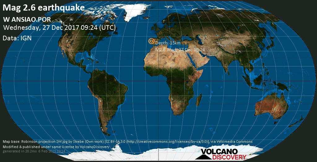Minor mag. 2.6 earthquake  - W ANSIAO.POR on Wednesday, 27 December 2017