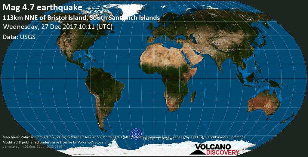 Light mag. 4.7 earthquake  - 113km NNE of Bristol Island, South Sandwich Islands on Wednesday, 27 December 2017