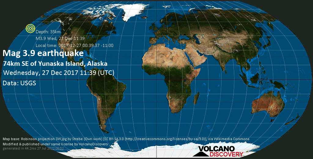 Minor mag. 3.9 earthquake  - 74km SE of Yunaska Island, Alaska on Wednesday, 27 December 2017