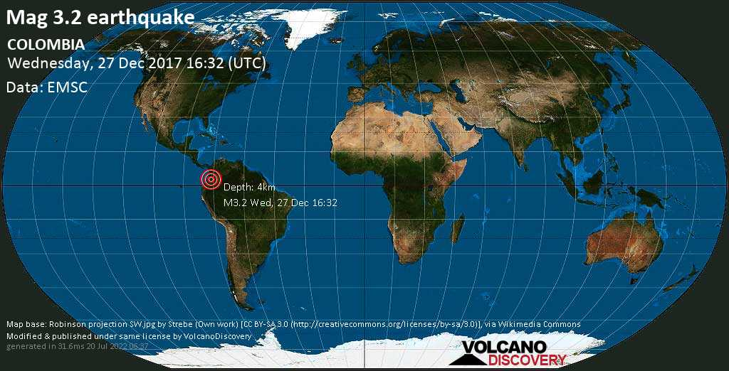 Minor mag. 3.2 earthquake  - COLOMBIA on Wednesday, 27 December 2017
