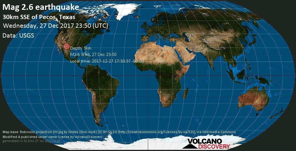 Minor mag. 2.6 earthquake  - 30km SSE of Pecos, Texas on Wednesday, 27 December 2017