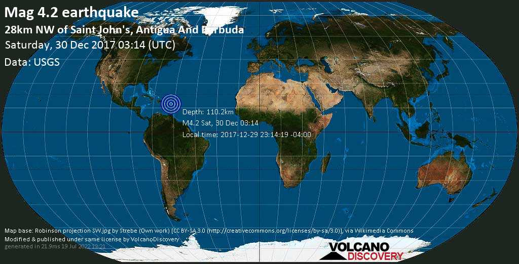 Light mag. 4.2 earthquake  - 28km NW of Saint John\'s, Antigua and Barbuda on Saturday, 30 December 2017