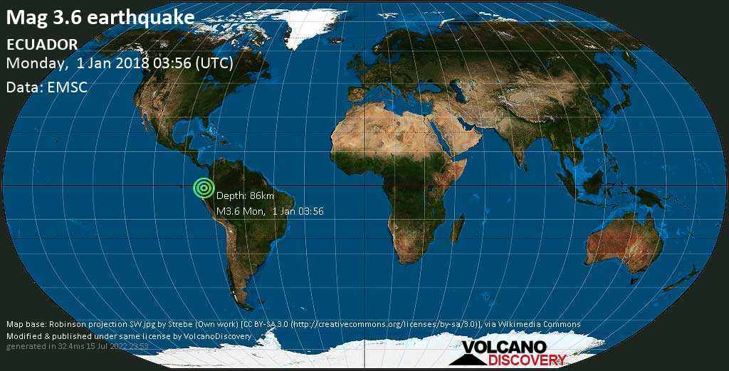 Minor mag. 3.6 earthquake  - ECUADOR on Monday, 1 January 2018