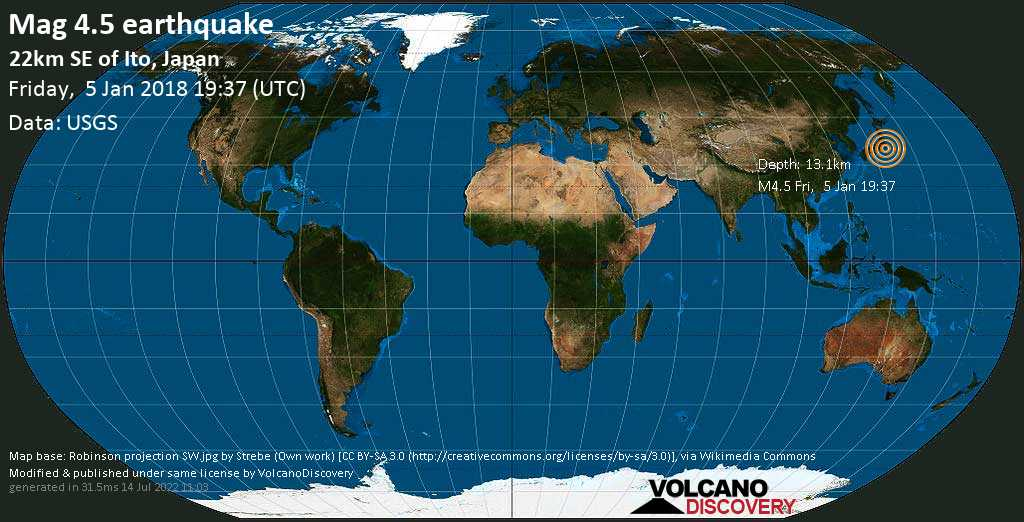 Light mag. 4.5 earthquake  - 22km SE of Ito, Japan on Friday, 5 January 2018