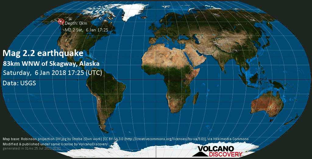 Minor mag. 2.2 earthquake  - 83km WNW of Skagway, Alaska on Saturday, 6 January 2018