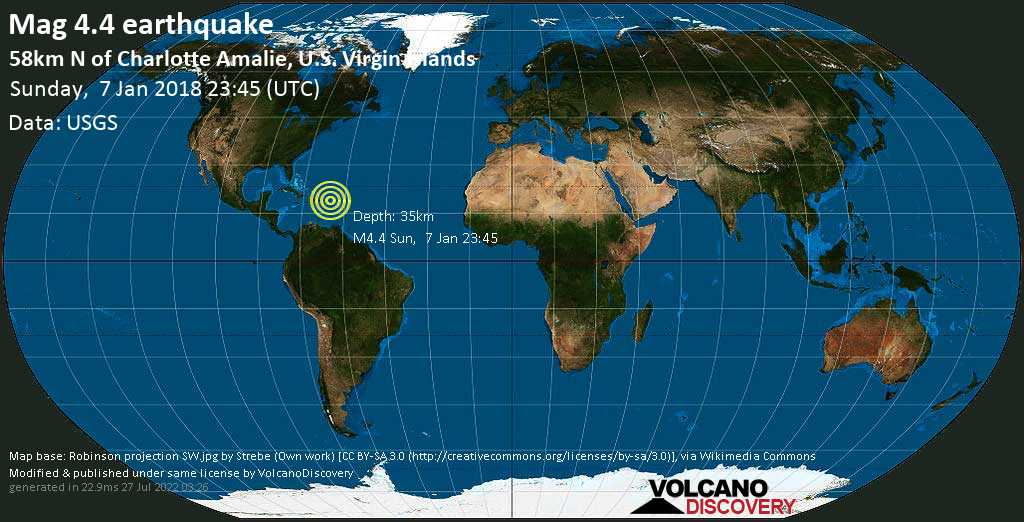 Light mag. 4.4 earthquake  - 58km N of Charlotte Amalie, U.S. Virgin Islands on Sunday, 7 January 2018