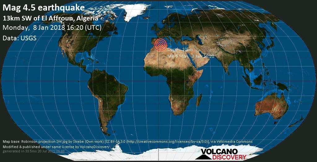 Light mag. 4.5 earthquake  - 13km SW of El Affroun, Algeria on Monday, 8 January 2018
