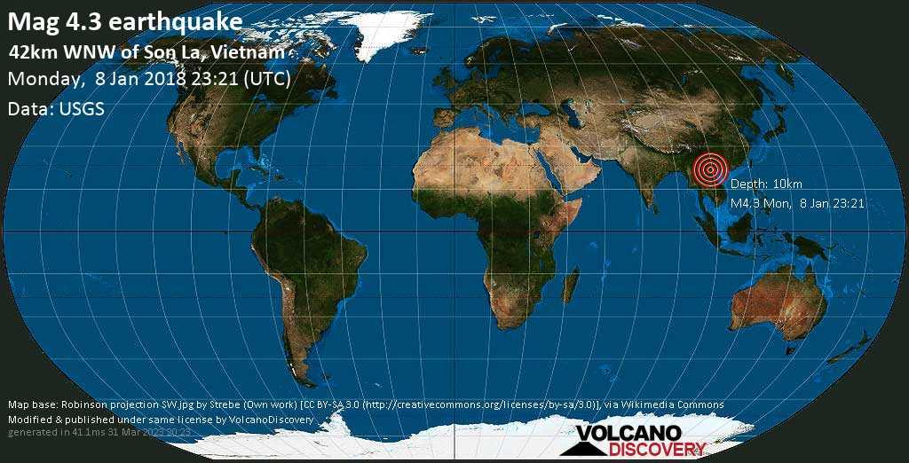 Light mag. 4.3 earthquake  - 42km WNW of Son La, Vietnam on Monday, 8 January 2018