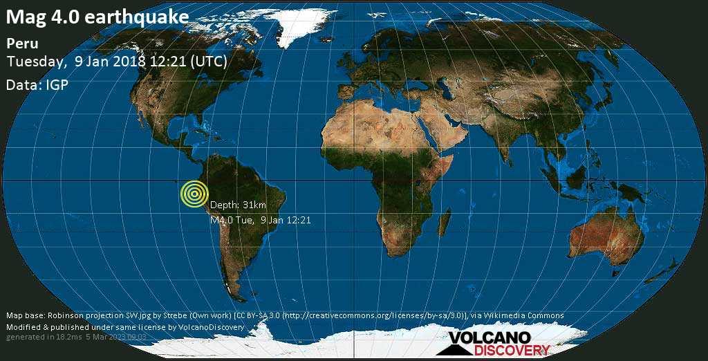Light mag. 4.0 earthquake  - Peru on Tuesday, 9 January 2018