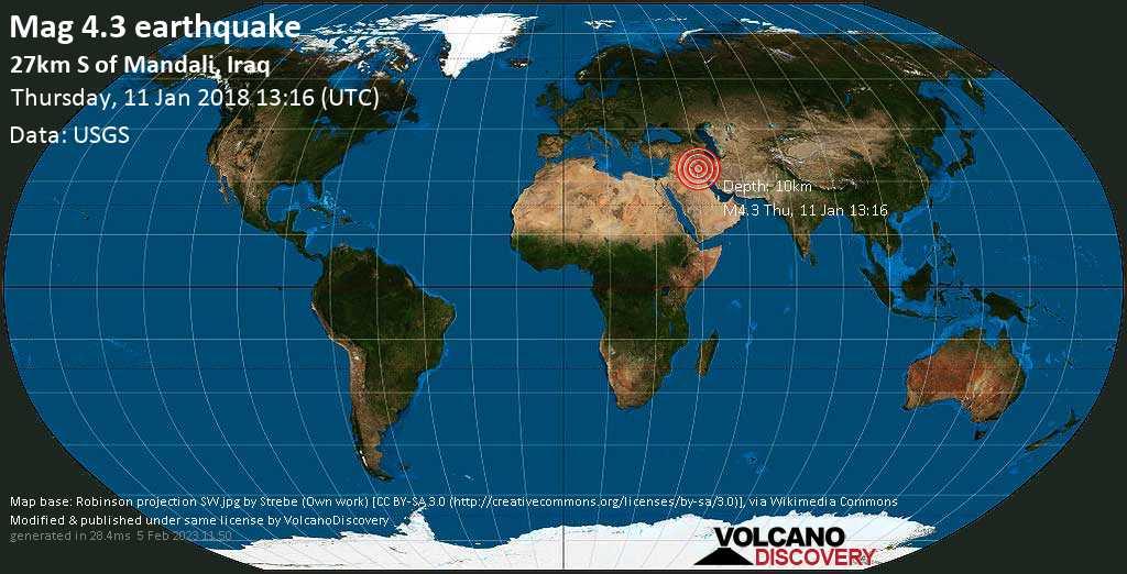 Light mag. 4.3 earthquake  - 27km S of Mandali, Iraq on Thursday, 11 January 2018
