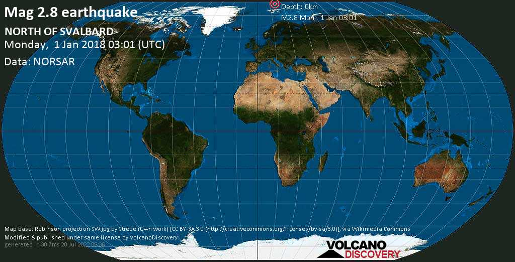 Minor mag. 2.8 earthquake  - NORTH OF SVALBARD on Monday, 1 January 2018