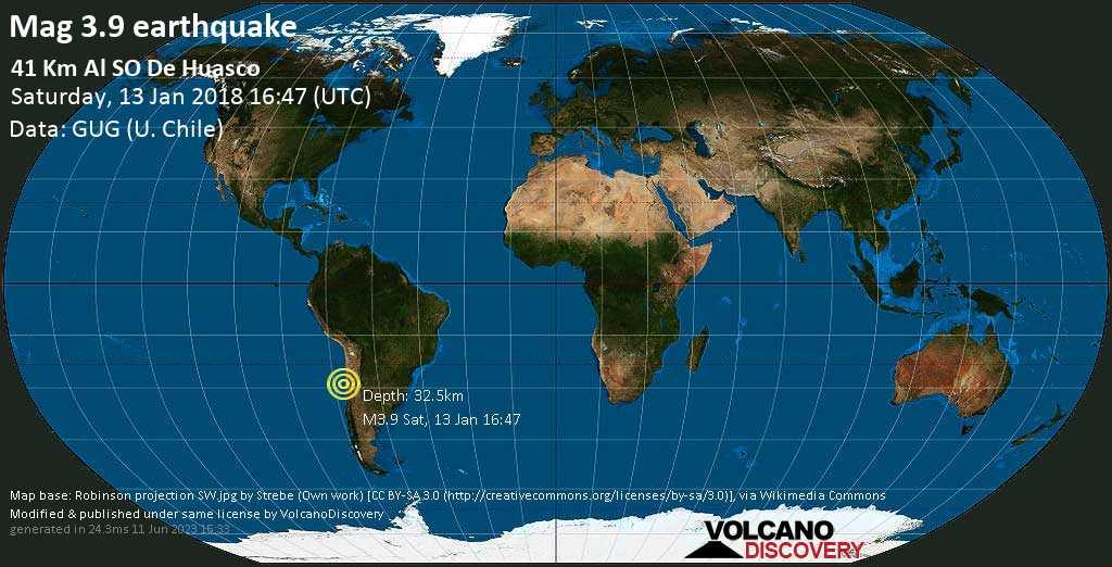 Minor mag. 3.9 earthquake  - 41 km al SO de Huasco on Saturday, 13 January 2018