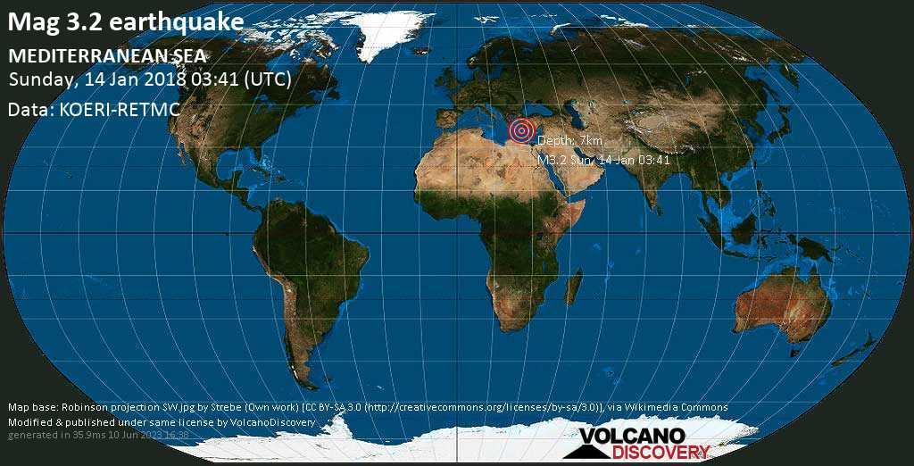 Minor mag. 3.2 earthquake  - MEDITERRANEAN SEA on Sunday, 14 January 2018