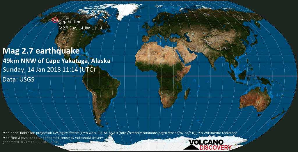 Minor mag. 2.7 earthquake  - 49km NNW of Cape Yakataga, Alaska on Sunday, 14 January 2018