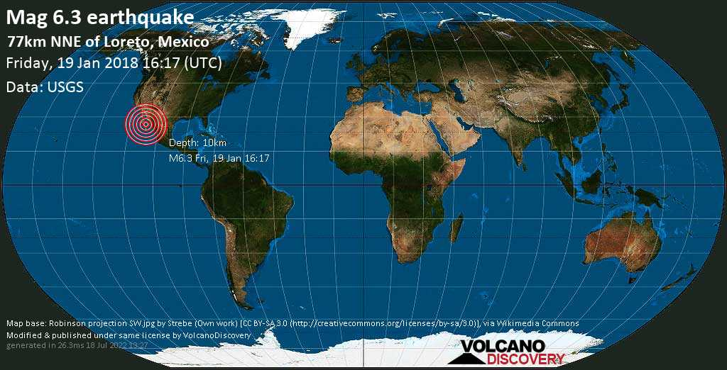 Strong mag. 6.3 earthquake  - 77km NNE of Loreto, Mexico on Friday, 19 January 2018