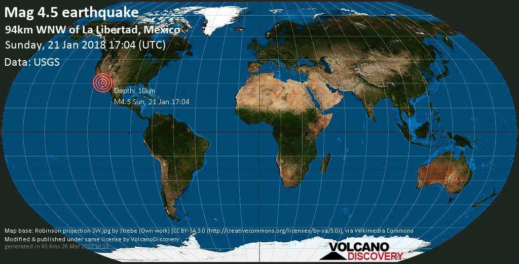 Light mag. 4.5 earthquake  - 94km WNW of La Libertad, Mexico on Sunday, 21 January 2018