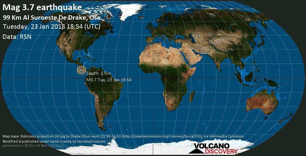 Minor mag. 3.7 earthquake  - 99 km al Suroeste de Drake, Osa. on Tuesday, 23 January 2018