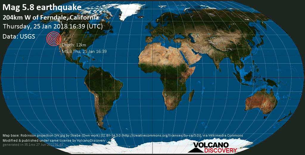 M 5.8 quake: 204km W of Ferndale, California on Thu, 25 Jan 16h39