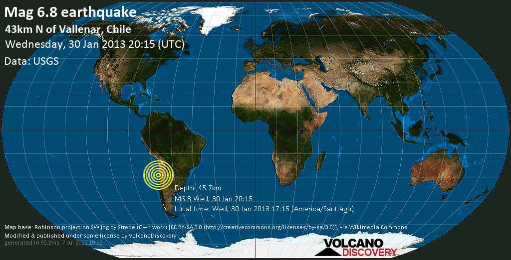 Strong mag. 6.8 earthquake  - 43km N of Vallenar, Chile on Wednesday, 30 January 2013