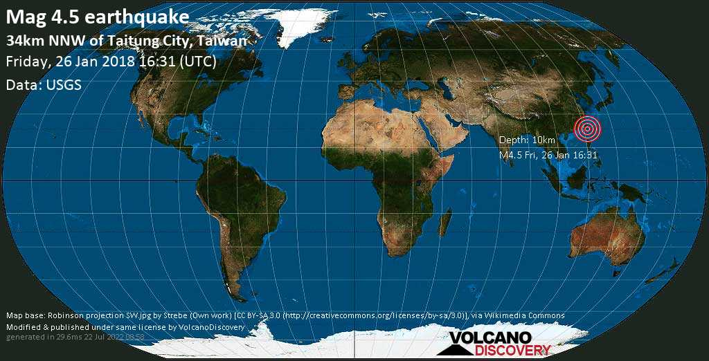 Light mag. 4.5 earthquake  - 34km NNW of Taitung City, Taiwan on Friday, 26 January 2018