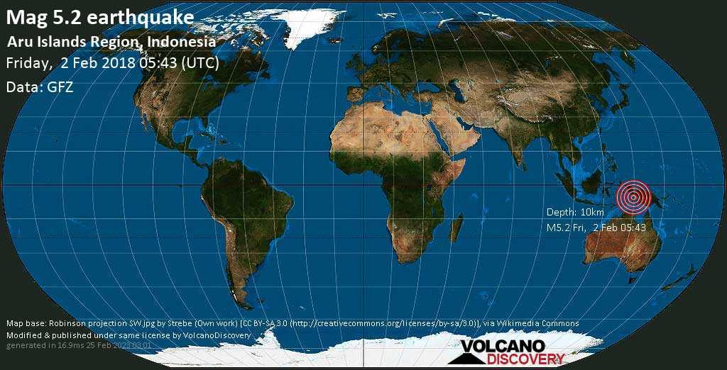 Moderate mag. 5.2 earthquake  - Aru Islands Region, Indonesia on Friday, 2 February 2018