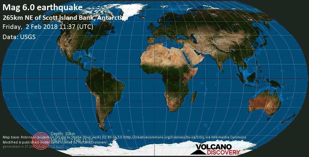 Strong mag. 6.0 earthquake  - 265km NE of Scott Island Bank, Antarctica on Friday, 2 February 2018
