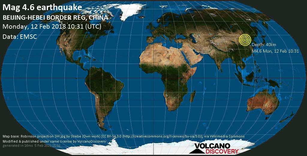 Light mag. 4.6 earthquake  - BEIJING-HEBEI BORDER REG, CHINA on Monday, 12 February 2018