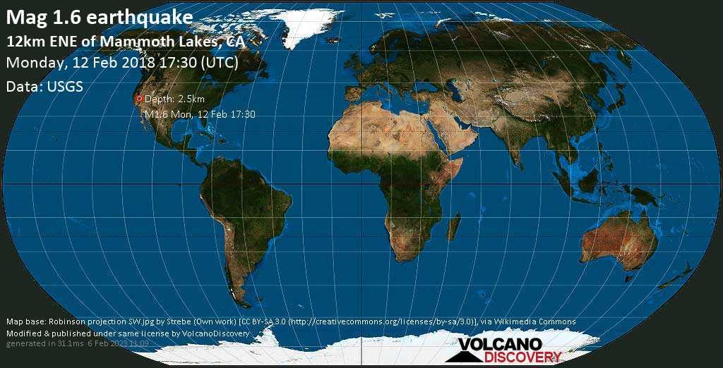 Minor mag. 1.6 earthquake  - 12km ENE of Mammoth Lakes, CA on Monday, 12 February 2018