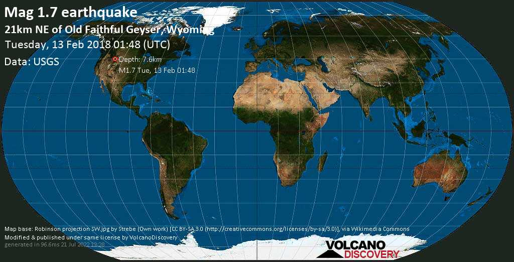 Minor mag. 1.7 earthquake  - 21km NE of Old Faithful Geyser, Wyoming on Tuesday, 13 February 2018
