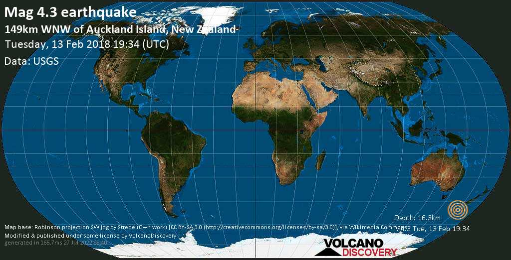 Light mag. 4.3 earthquake  - 149km WNW of Auckland Island, New Zealand on Tuesday, 13 February 2018