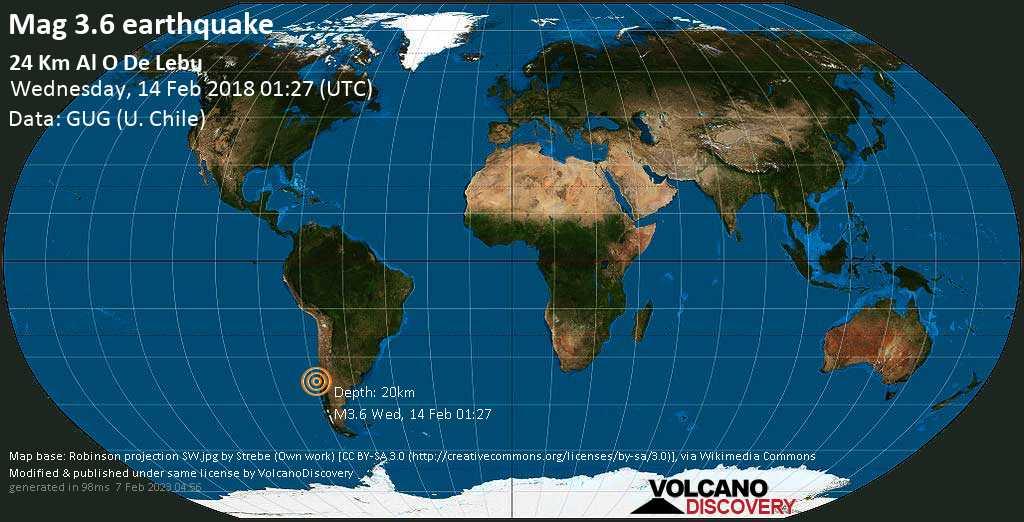 Minor mag. 3.6 earthquake  - 24 km al O de Lebu on Wednesday, 14 February 2018