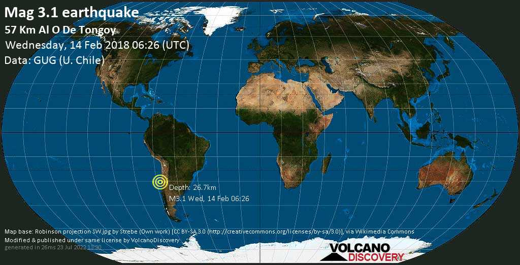 Minor mag. 3.1 earthquake  - 57 km al O de Tongoy on Wednesday, 14 February 2018