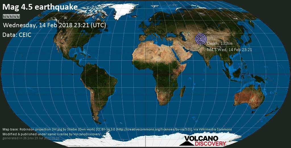 Light mag. 4.5 earthquake  - 塔吉克斯坦 on Wednesday, 14 February 2018