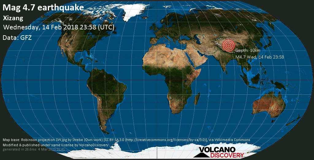 Light mag. 4.7 earthquake  - Xizang on Wednesday, 14 February 2018