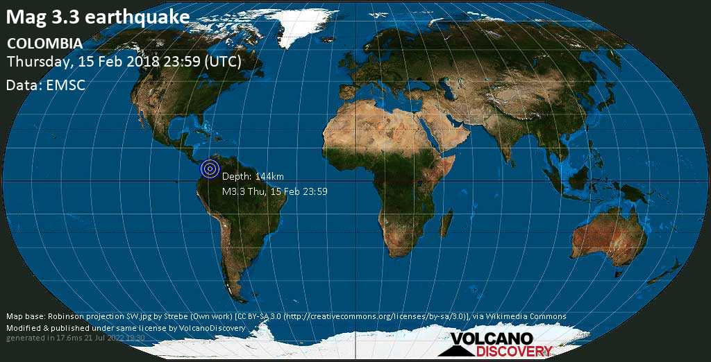Minor mag. 3.3 earthquake  - COLOMBIA on Thursday, 15 February 2018