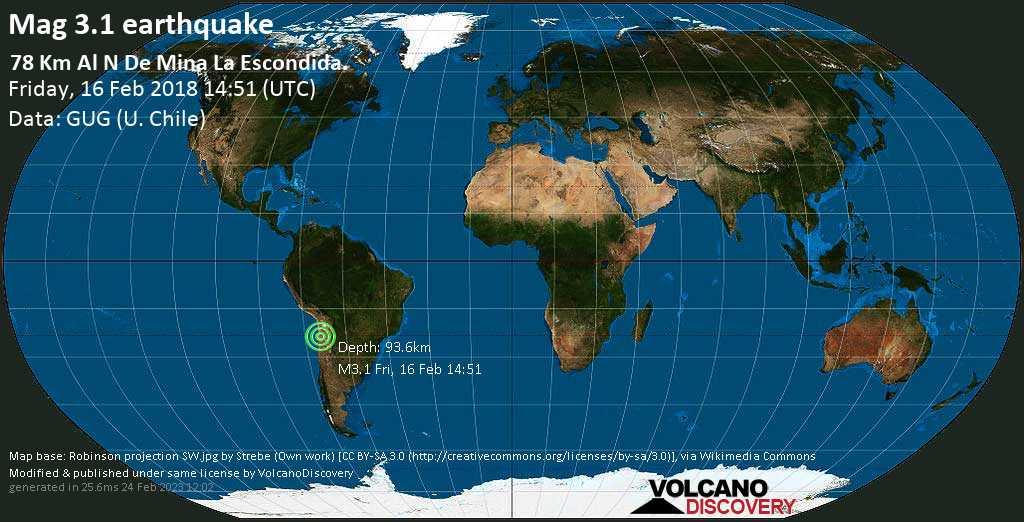 Minor mag. 3.1 earthquake  - 78 km al N de Mina La Escondida. on Friday, 16 February 2018