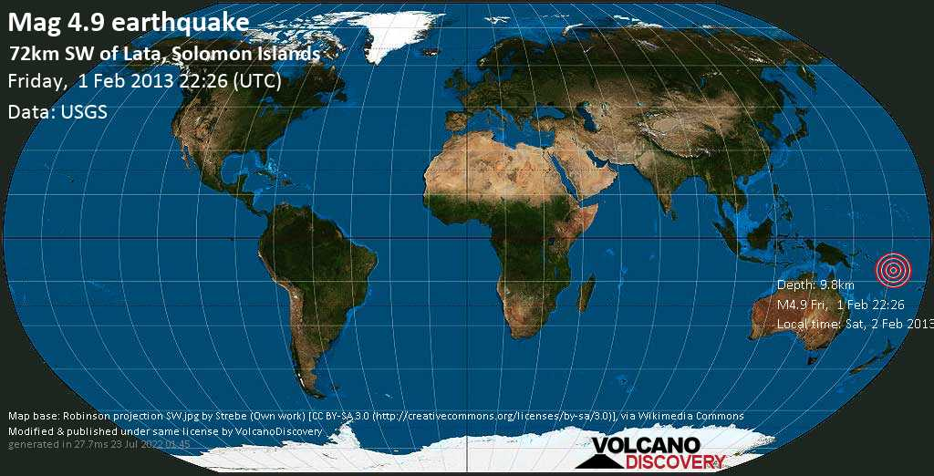 Light mag. 4.9 earthquake  - 72km SW of Lata, Solomon Islands on Friday, 1 February 2013