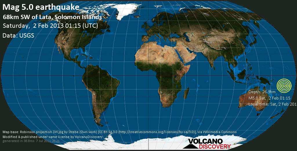 Moderate mag. 5.0 earthquake  - 68km SW of Lata, Solomon Islands on Saturday, 2 February 2013