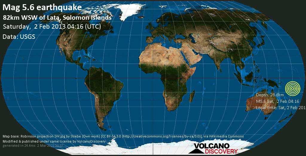 Moderate mag. 5.6 earthquake  - 82km WSW of Lata, Solomon Islands on Saturday, 2 February 2013