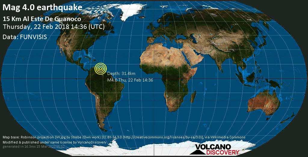 Light mag. 4.0 earthquake  - 15 Km al este de Guanoco on Thursday, 22 February 2018