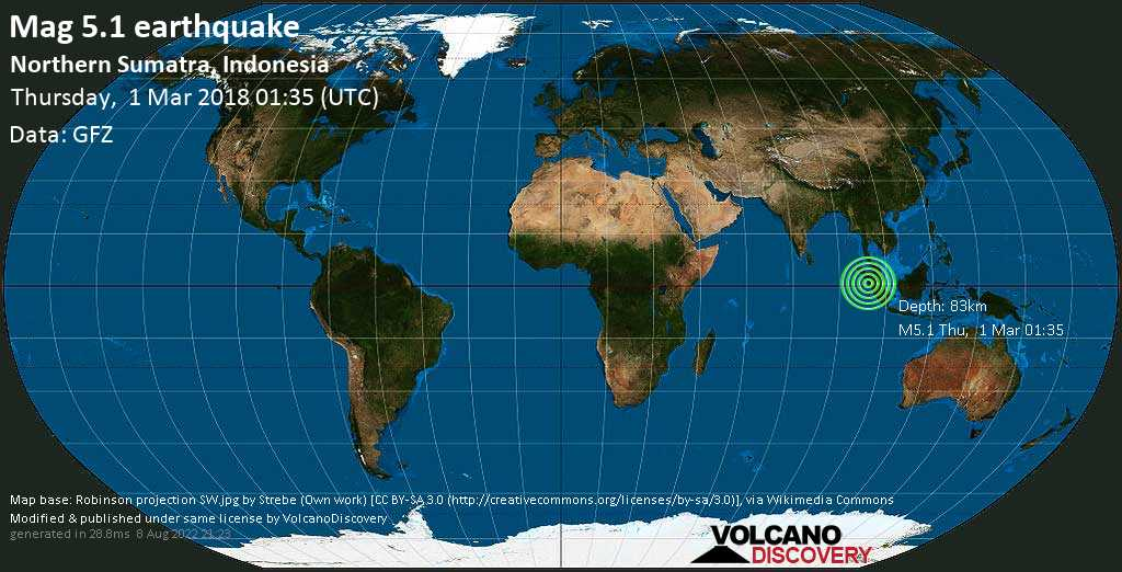 Moderate mag. 5.1 earthquake  - Northern Sumatra, Indonesia on Thursday, 1 March 2018